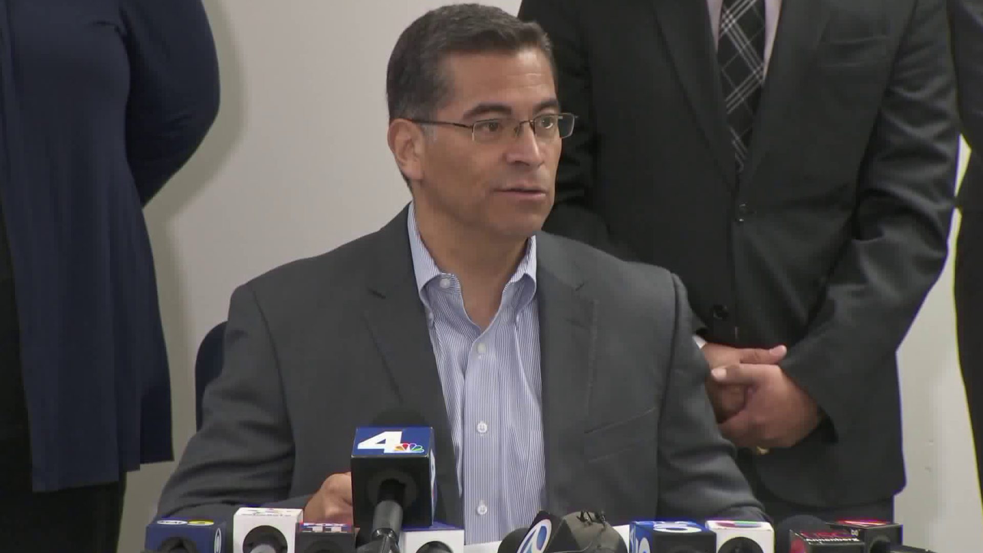 California Attorney General Xavier Becerra speaks in Los Angeles on Sept. 12, 2017. (Credit: KTLA)
