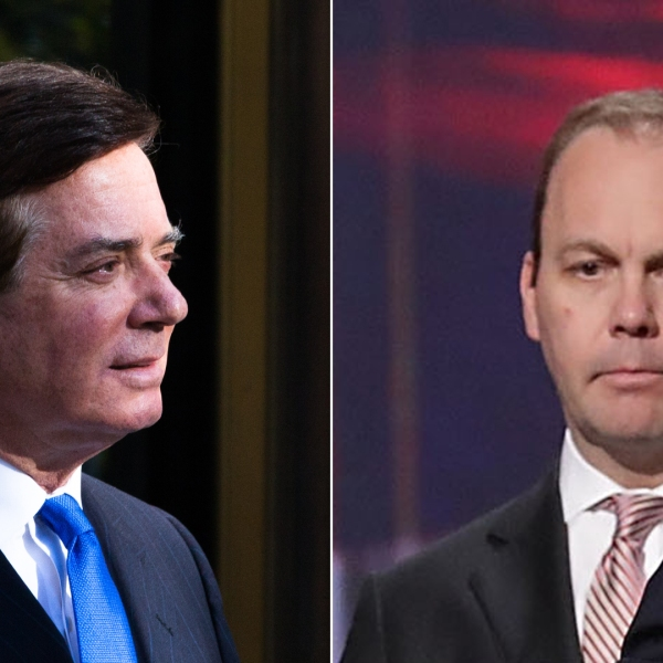 Left, Paul Manafort leaves federal court, Oct. 30, 2017, in Washington, D.C. right, Rick Gates stands behind Donald Trump during a microphone test on stage at the Republican National Convention on July 21, 2016, in Cleveland, Ohio. (Credit: Getty Images; left, Keith Lane; right, Chip Somodevilla)