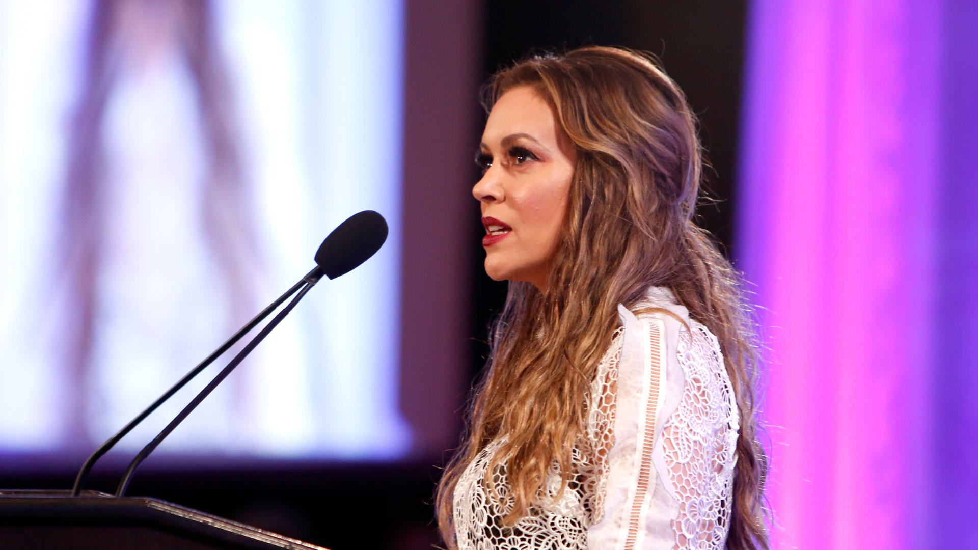 Actress Alyssa Milano speaks at the 2017 World Of Children Hero Awards at Montage Beverly Hills on April 19, 2017, in Beverly Hills. (Credit: Randy Shropshire/Getty Images for World of Children)