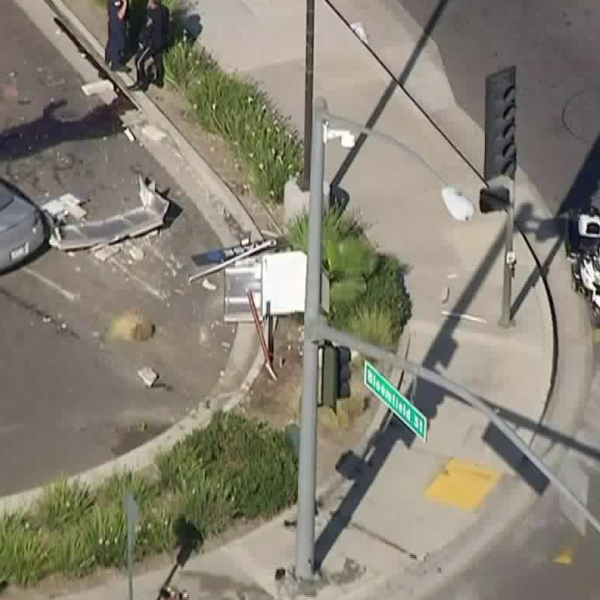 A car crashed into four people in Los Alamitos on the afternoon of Oct. 11, 2017. (Credit: KTLA)