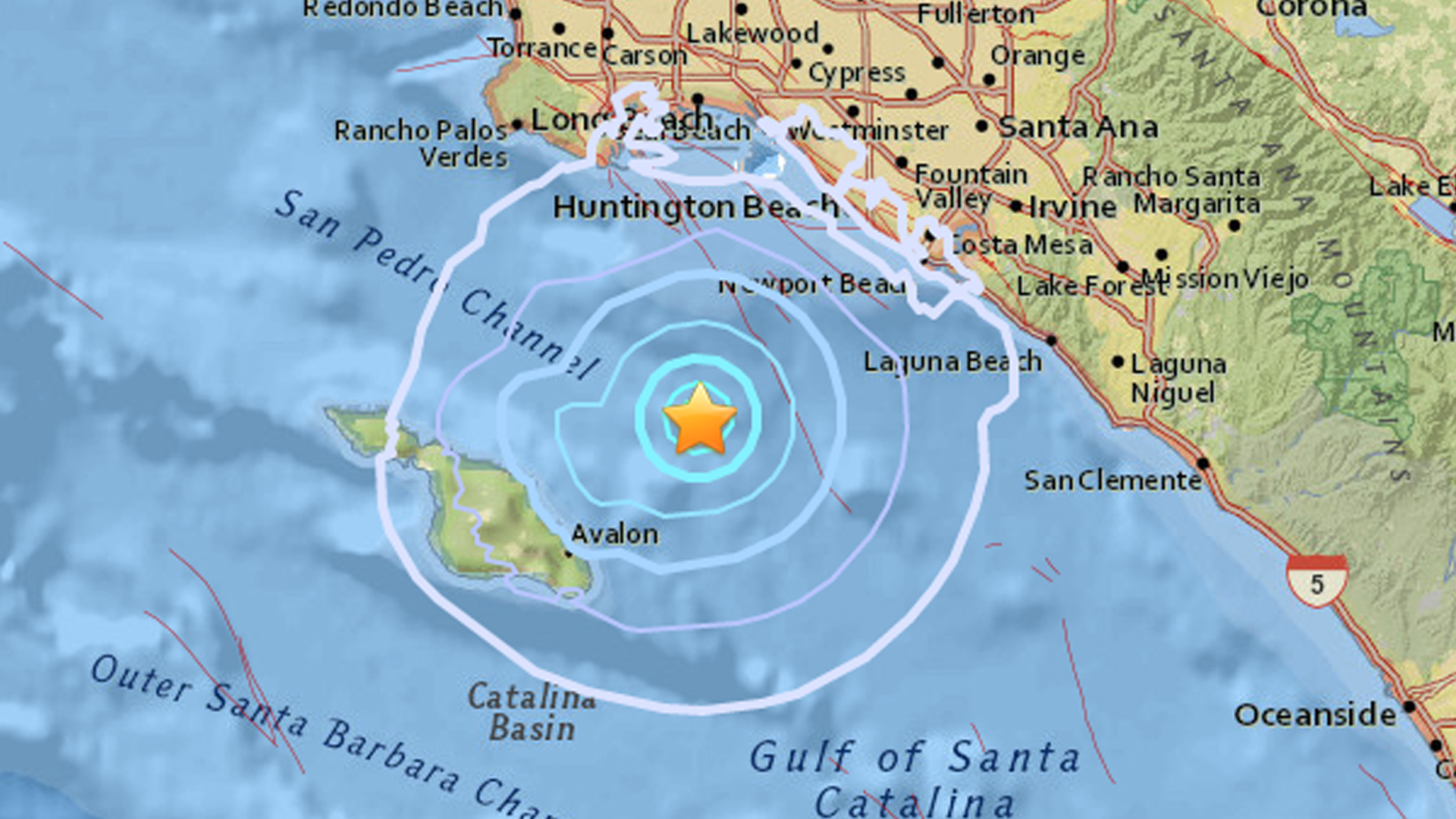 A 3.5-earthquake struck off Catalina Island on Oct. 26, 2017. (Credit: USGS)