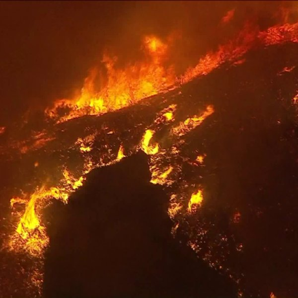 The 350-acre Wildomar Fire burned in the Cleveland National Forest on Oct. 26, 2017. (Credit: KTLA)