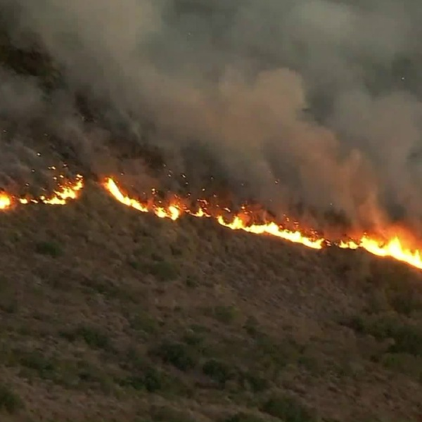 The Canyon Fire 2 burns a hillside in October 2017. (Credit: KTLA)