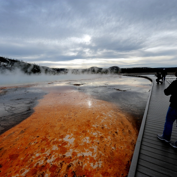"View of the ""Grand Prismatic"" hot spring in the Yellowstone National Park, Wyoming, on June 1, 2011. (Credit: AFP PHOTO/Mark RALSTON (Photo credit should read MARK RALSTON/AFP/Getty Images)"