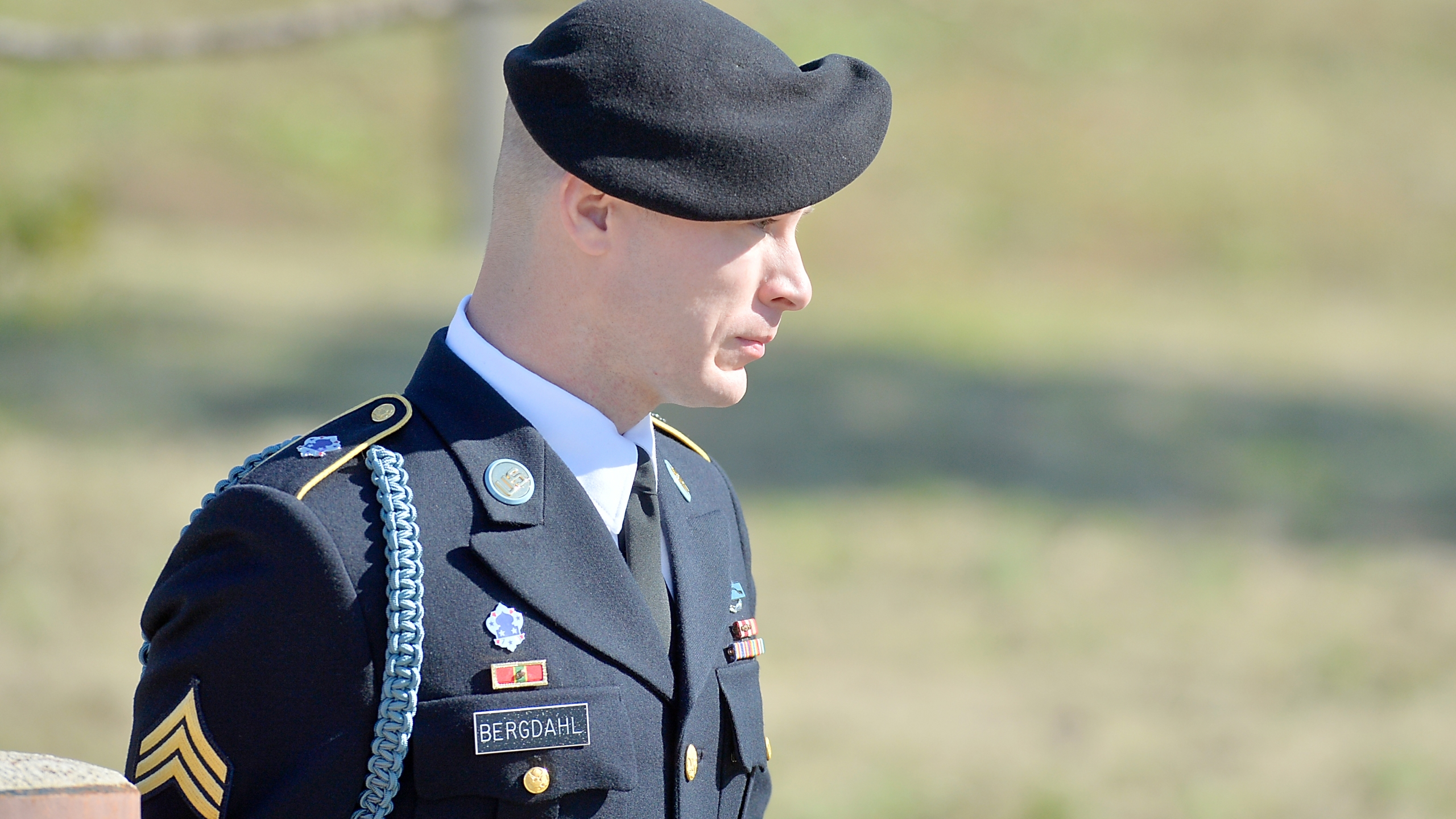 U.S. Army Sgt. Robert Bowdrie 'Bowe' Bergdahll, 29 of Hailey, Idaho, leaves the Ft. Bragg military courthouse after a pretrial hearing on January 12, 2016 in Ft. Bragg, North Carolina. (Credit: Sara D. Davis/Getty Images)