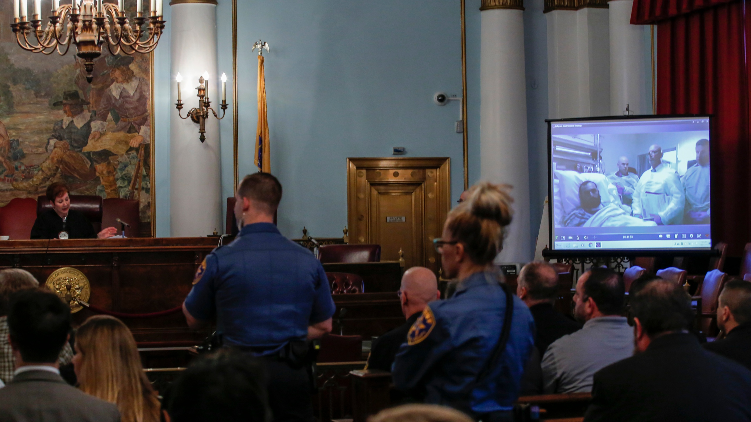 Suspected bomber Ahmad Khan Rahami attends the first court hearing on screen in Elizabeth, New Jersey while he remains in University Hospital in Newark, on October 13, 2016. (Credit Kena Betancur/AFP/Getty Images)