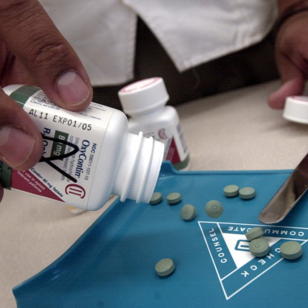 OxyContin is displayed in this file photo. (Credit: Darren McCollester/Getty Images)