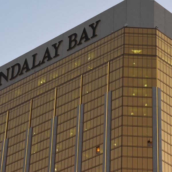 Broken windows that a gunman fired from at the Mandalay Bay Hotel and Casino in Las Vegas, Nevada, are seen Oct. 4, 2017. (Credit: Robyn Beck / AFP / Getty Images)