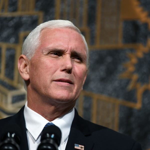 U.S. Vice President Mike Pence speaks at the culmination of a faith unity walk at Las Vegas City Hall on Oct. 7, 2017. (Credit: Ethan Miller / Getty Images)