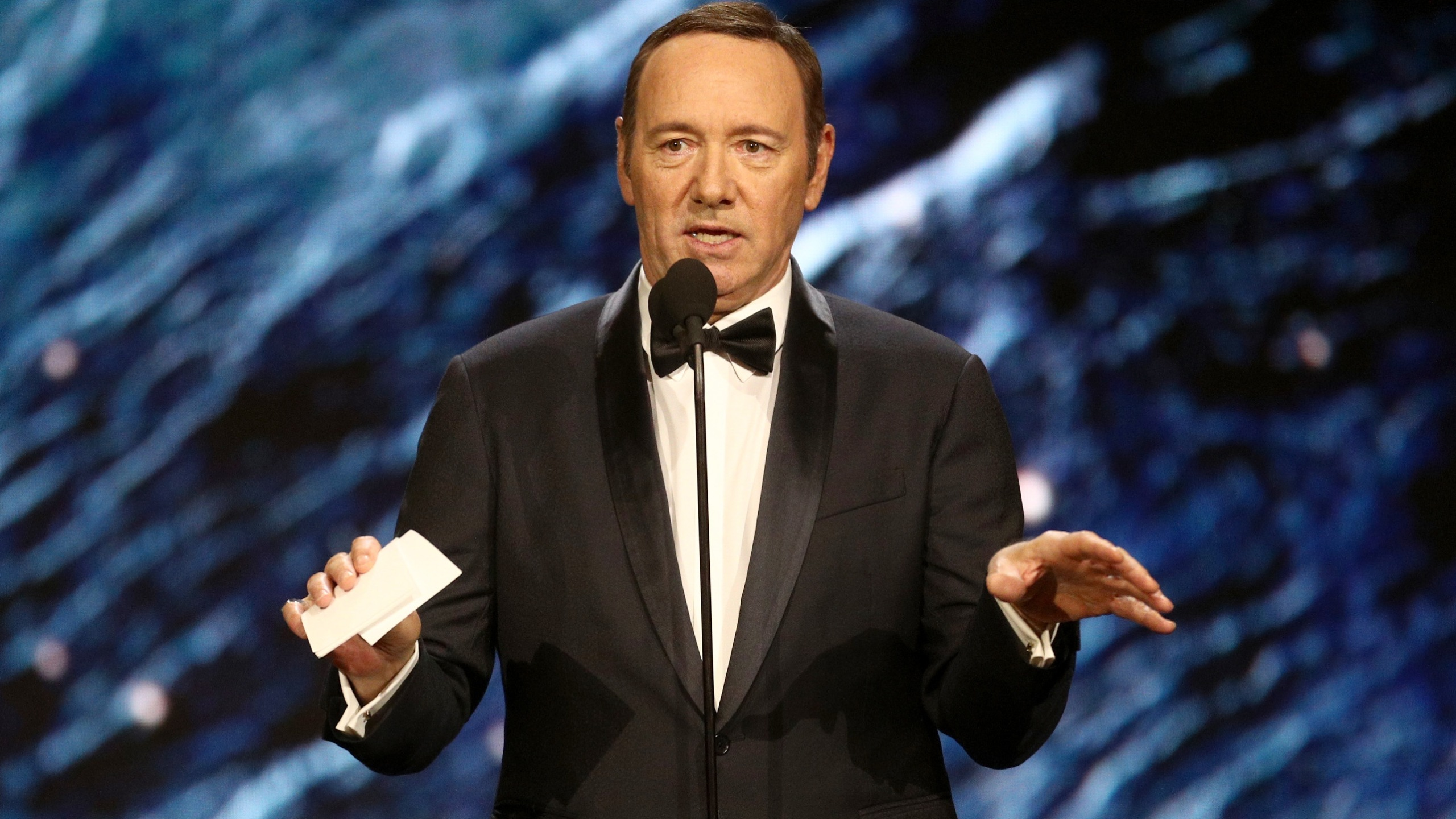 Kevin Spacey onstage to present Britannia Award for Excellence in Television