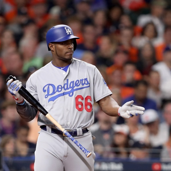 Yasiel Puig of the Los Angeles Dodgers prepares to bat against the Houston Astros in Game 5 of the 2017 World Series at Minute Maid Park on Oct. 29, 2017, in Houston, Texas. (Credit: Christian Petersen/Getty Images)