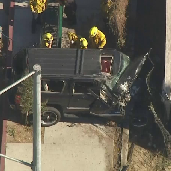 A crash in Lake View Terrace that happened right after a shooting left a man dead on Oct. 16, 2017. (Credit: KTLA)