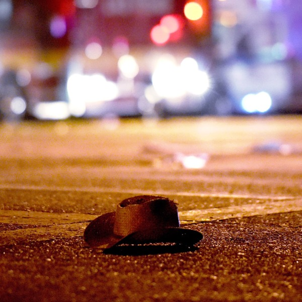 A cowboy hat lays in the street after shots were fired near a country music festival on October 1, 2017 in Las Vegas. (Credit: David Becker/Getty Images)