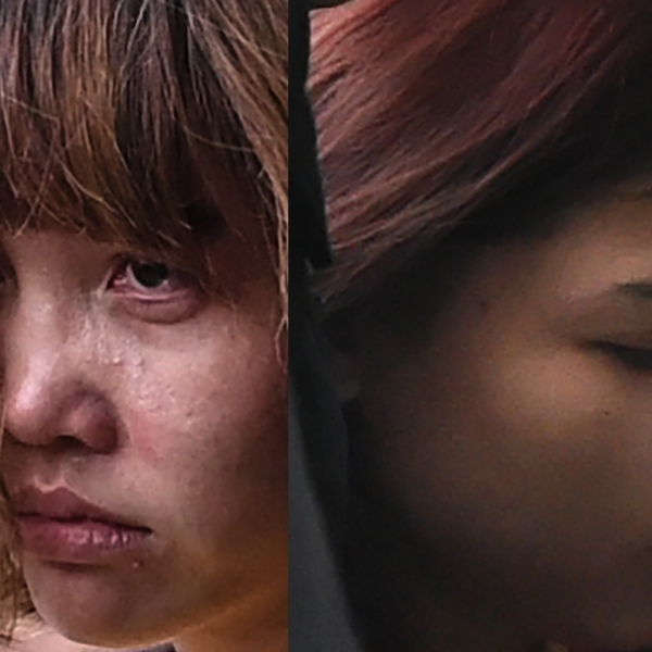 Doan Thi Huong, 28, (left) and Siti Aisyah, 25, are seen in separate photos being escorted by police for a court appearance in Sepang on March 1, 2017. (Credit: Mohd Rasfan/AFP/Getty Images)
