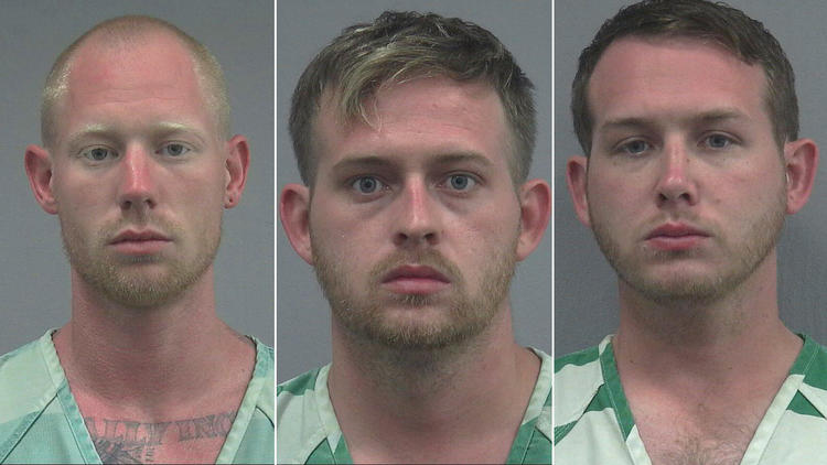 From left, Tyler Tenbrink, Colton Fears and William Fears are show in photos from the Alachua County Sheriff's Office (via Los Angeles Times)