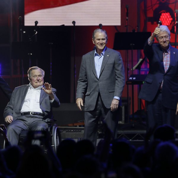 All five living former U.S. Presidents appeared at a Texas concert raising money for hurricane relief efforts. Left to right are Jimmy Carter, George H.W. Bush, George W. Bush, Bill Clinton and Barack Obama. (Credit: CNN)