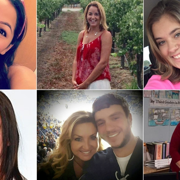 "Las Vegas shooting victims Angela ""Angie"" Gomez (top left), Sandra Casey (top center), Bailey Schweitzer (top right), Neysa Tonks (bottom left), Sonny Melton (on right in bottom center photo) and Susan Smith (bottom right) are seen in photos provided by CNN Wire."