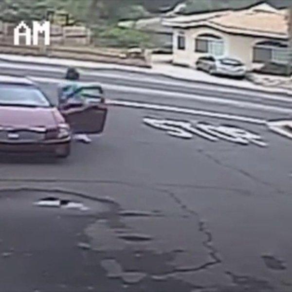 Part of a burglary was caught on tape in La Crescenta. (Credit: KTLA)