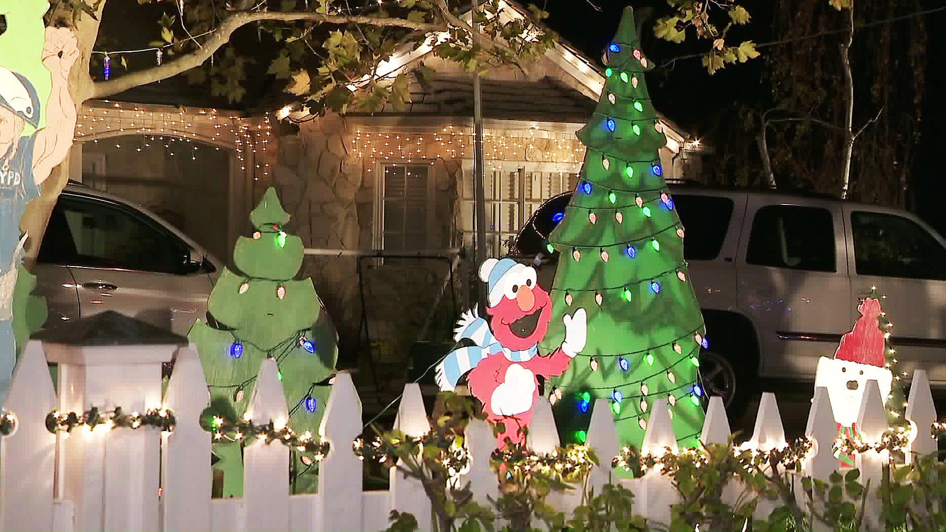 Christmas decorations are seen on Candy Cane Lane on Nov. 28, 2017. (Credit: KTLA)