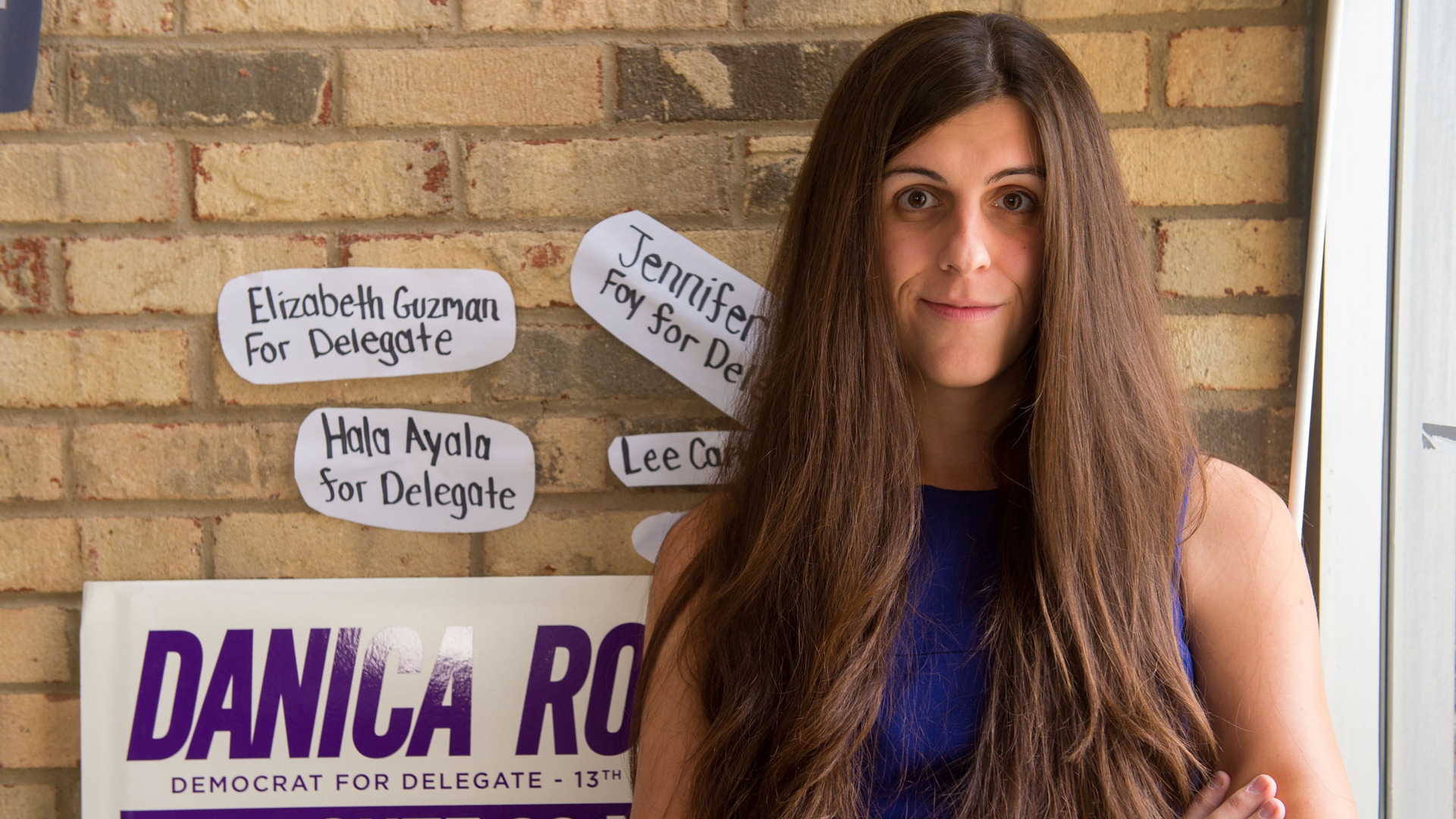 Danica Roem, a Democrat for delegate in Virginia's District 13, and who is transgender, sits in her campaign office on Sept. 22, 2017, in Manassas, Virginia. (Credit: PAUL J. RICHARDS/AFP/Getty Images)