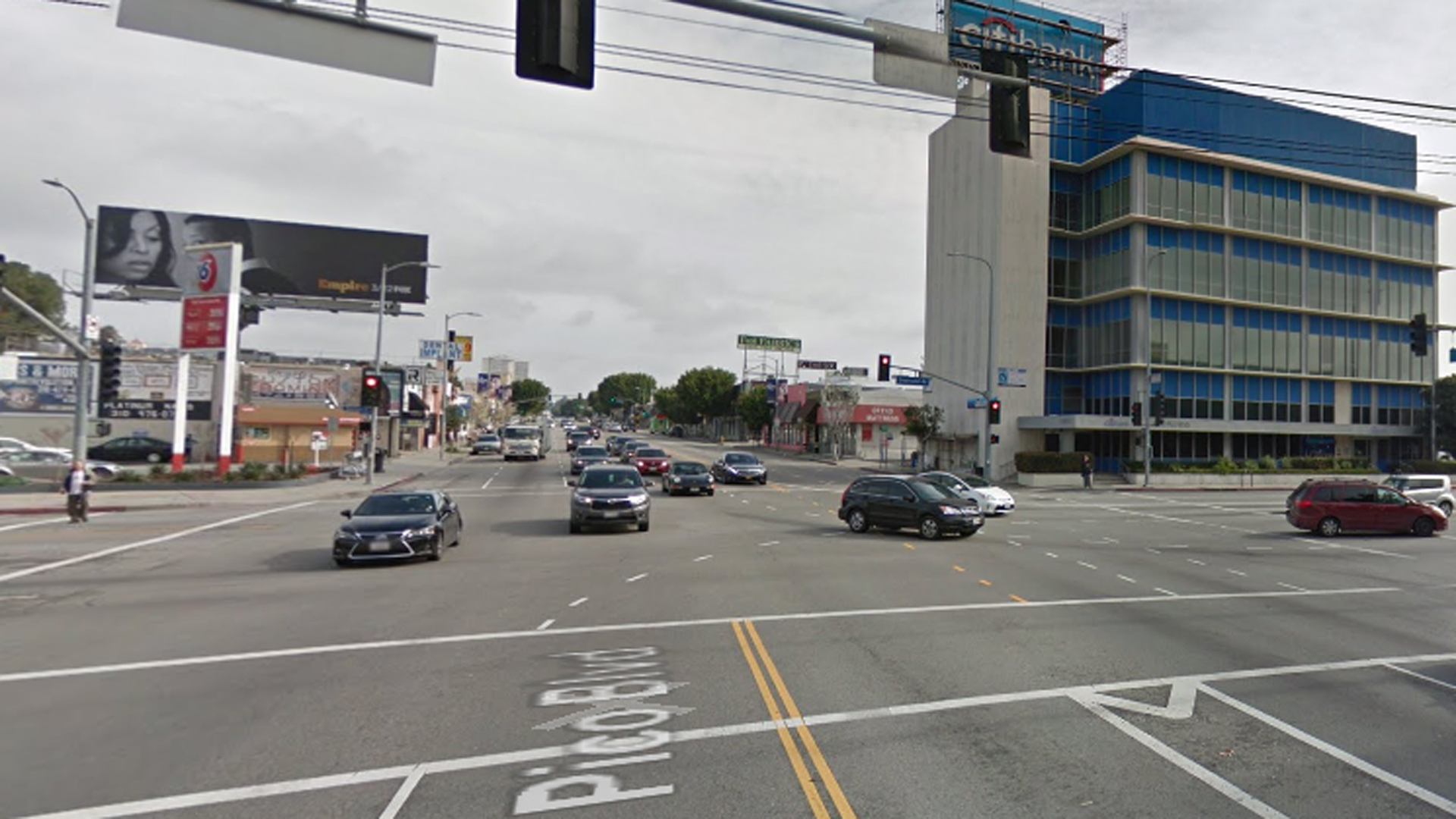 The area of Pico and Overland is seen in this Google Maps street view image.