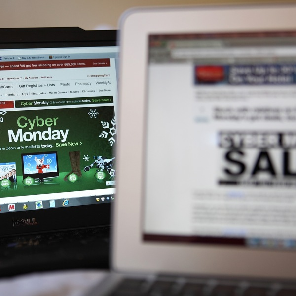 An ad seen on the Target website for a Cyber Monday sale is displayed on laptop computers on November 29, 2010. (Photo Illustration by Justin Sullivan/Getty Images)