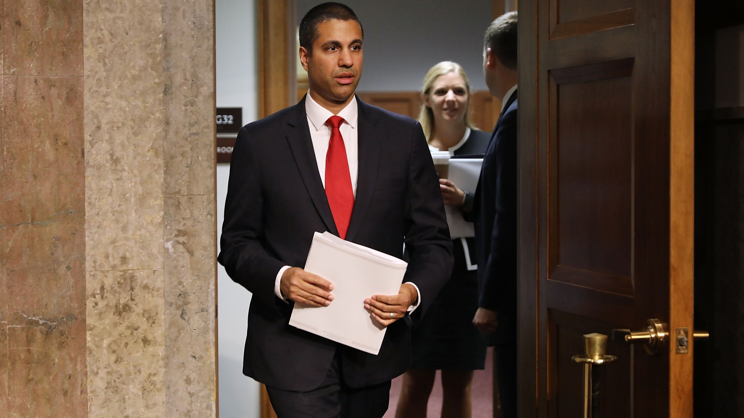 Federal Communications Commission Chairman Ajit Pai arrives for his confirmation hearing for a second term as chair of the commission before the Senate Commerce, Science and Transportation Committee in the Dirksen Senate Office Building on Capitol Hill July 19, 2017 in Washington, DC. (Credit: Chip Somodevilla/Getty Images)