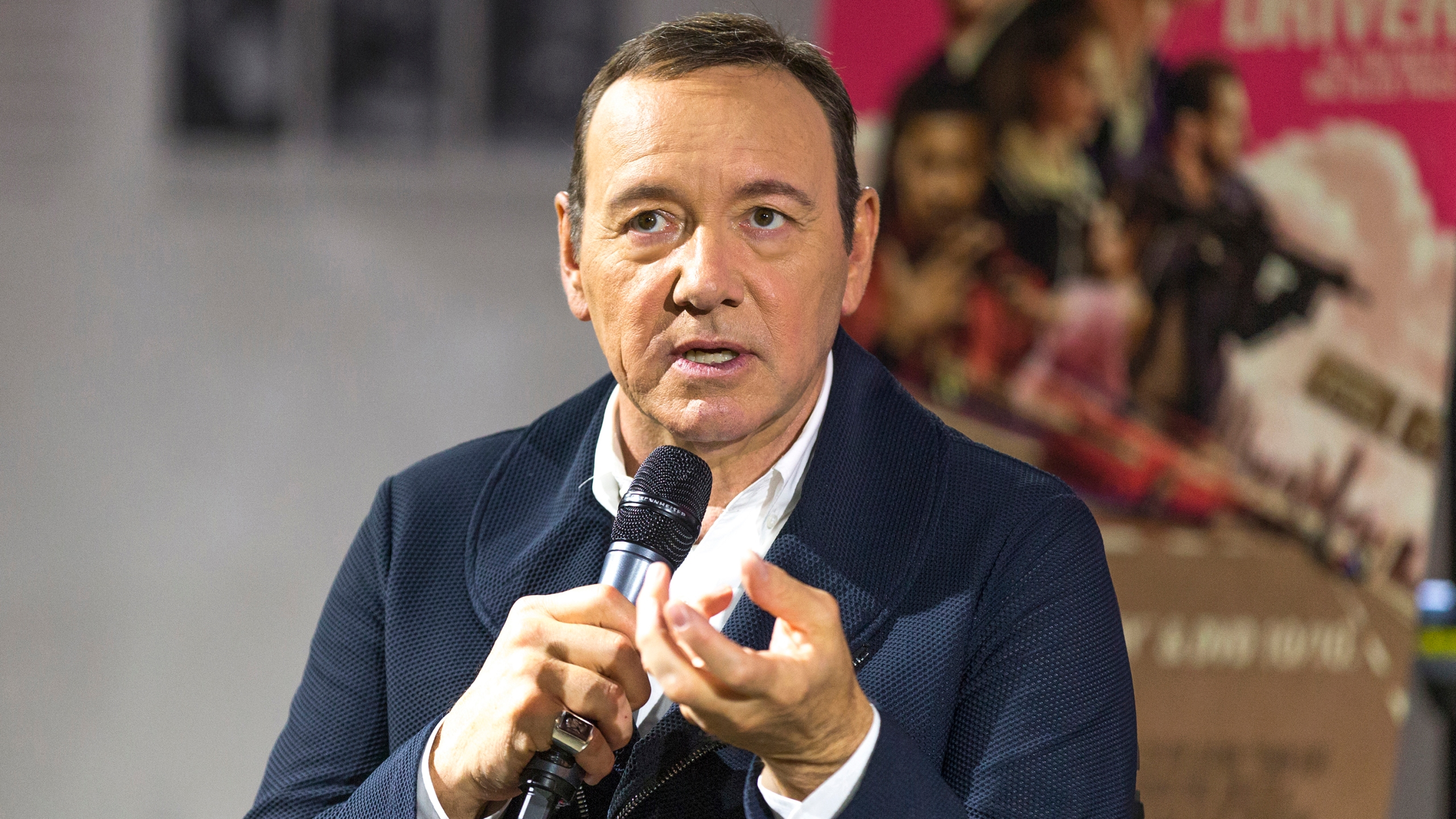 Kevin Spacey talks on stage at Cars, Arts & Beats: A Night Out With 'Baby Driver' at the Petersen Automotive Museum on October 4, 2017 in Los Angeles. (Credit: Rochelle Brodin/Getty Images for Sony Pictures Home Entertainment)