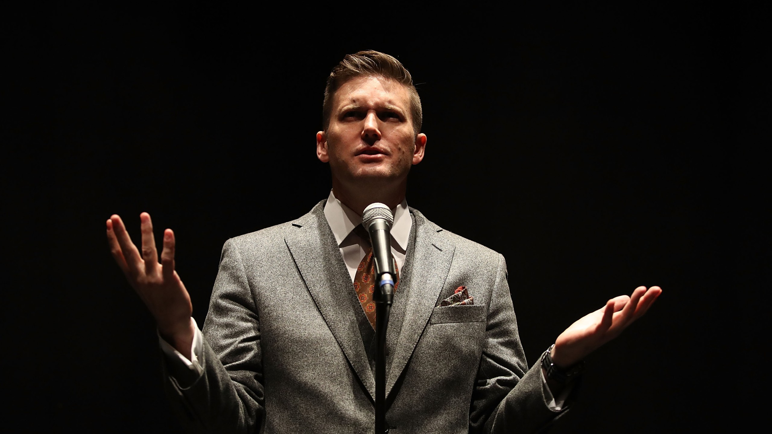 White nationalist Richard Spencer speaks during a press conference at the Curtis M. Phillips Center for the Performing Arts on Oct. 19, 2017 in Gainesville, Florida. (Credit: Joe Raedle/Getty Images)