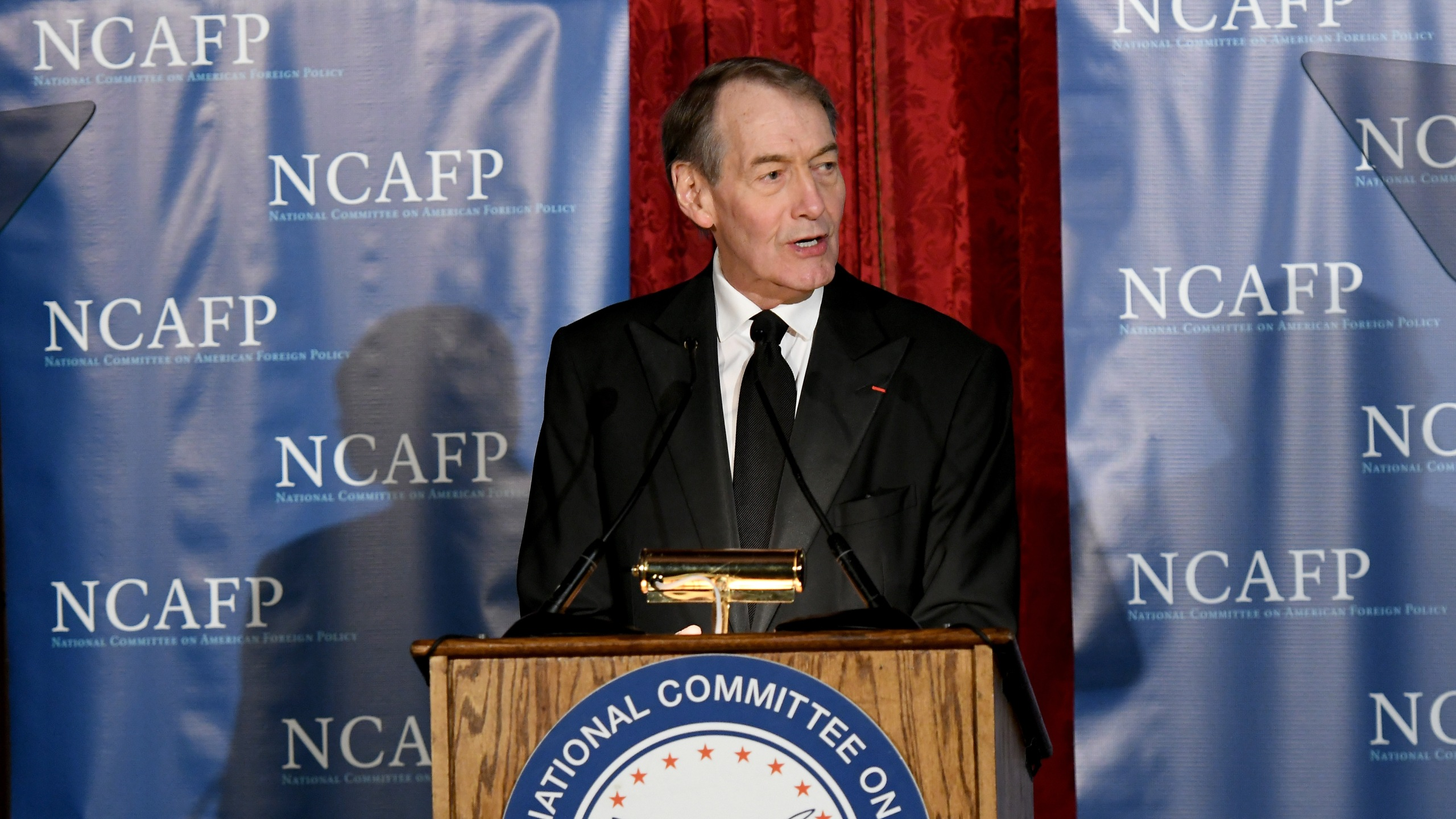 Charlie Rose hosts the National Committee On American Foreign Policy 2017 Gala Awards Dinner on October 30, 2017 in New York City. (Credit: Mike Coppola/Getty Images for National Committee on American Foreign Policy)