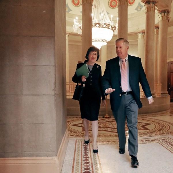 Sen. Susan Collins (R-ME) (left) and Sen. Lindsey Graham (R-SC) arrive for a meeting at the U.S. Capitol on Nov. 9, 2017. (Credit: Chip Somodevilla/Getty Images)