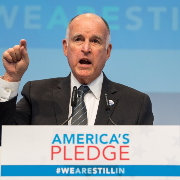 California Gov. Jerry Brown speaks at the America's Pledge launch event at the COP 23 United Nations Climate Change Conference on Nov. 11, 2017, in Bonn, Germany. (Credit: Lukas Schulze / Getty Images)