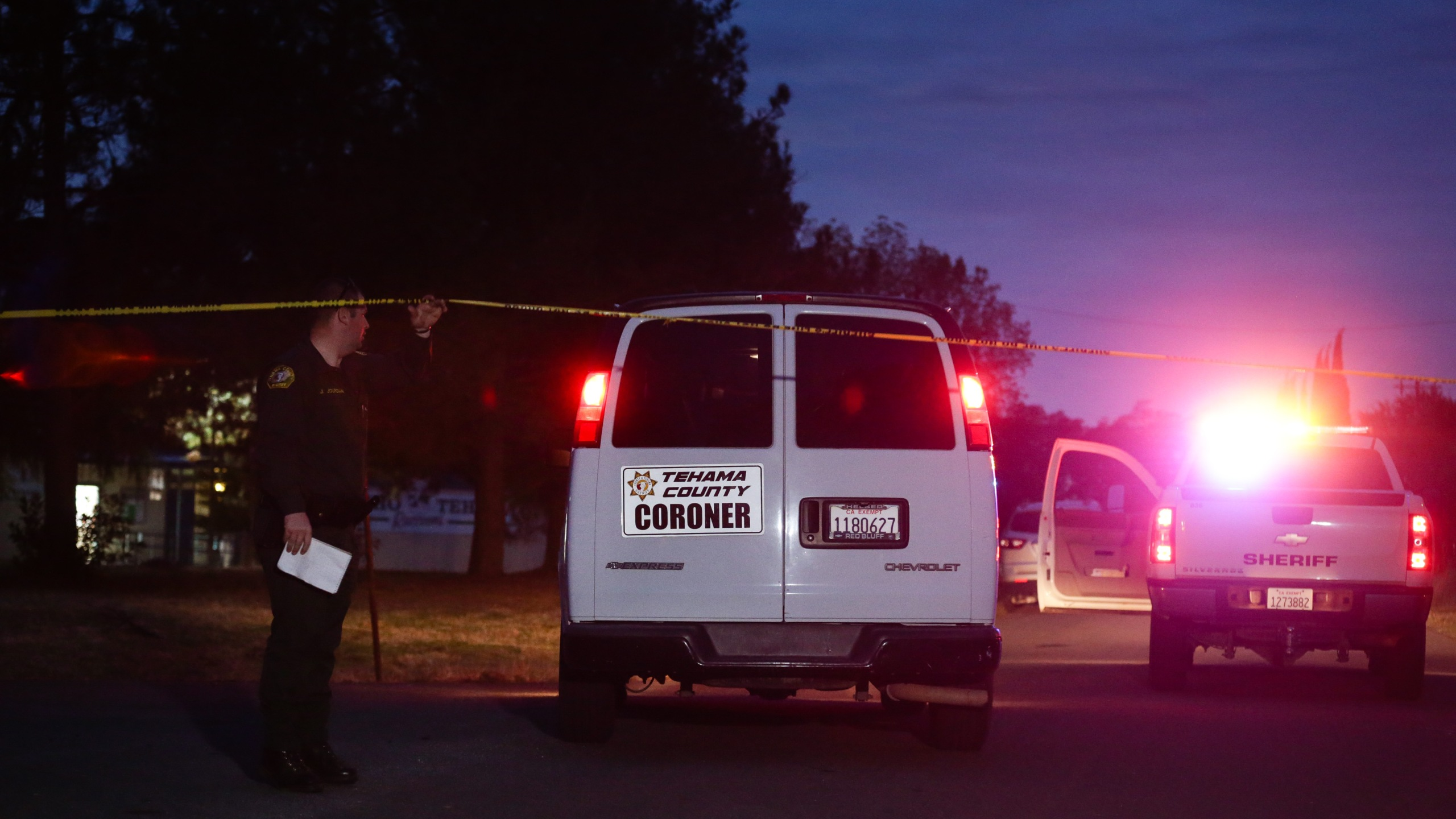A Tehama County coroner's van enters the Rancho Tehama Elementary school grounds after a shooting on Nov. 14, 2017, in Rancho Tehama. (Credit: ELIJAH NOUVELAGE/AFP/Getty Images)