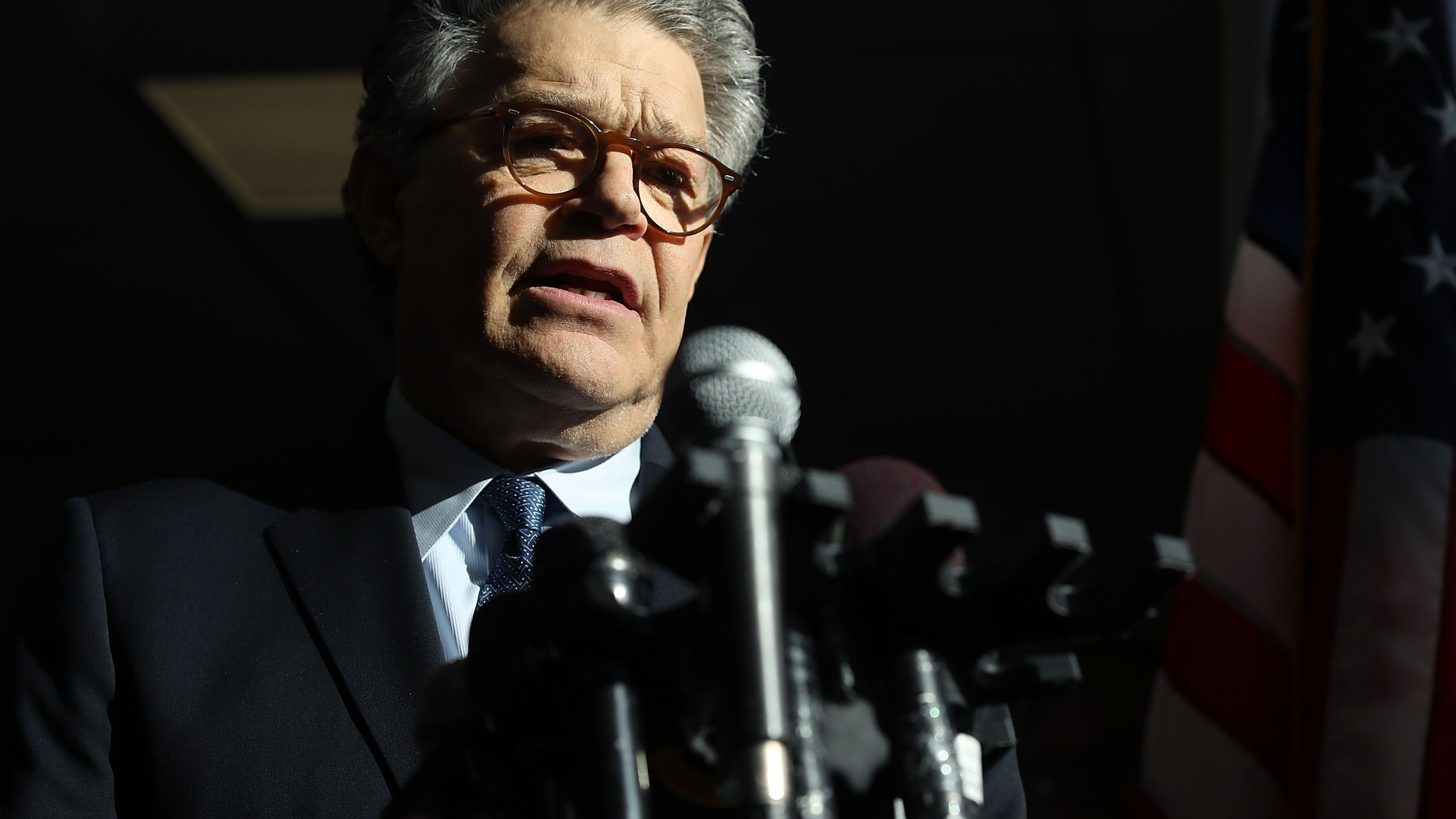 Sen. Al Franken speaks to the media after returning back to work in the Senate on Capitol Hill on Nov. 27, 2017 in Washington, D.C. (Credit: Mark Wilson/Getty Images)