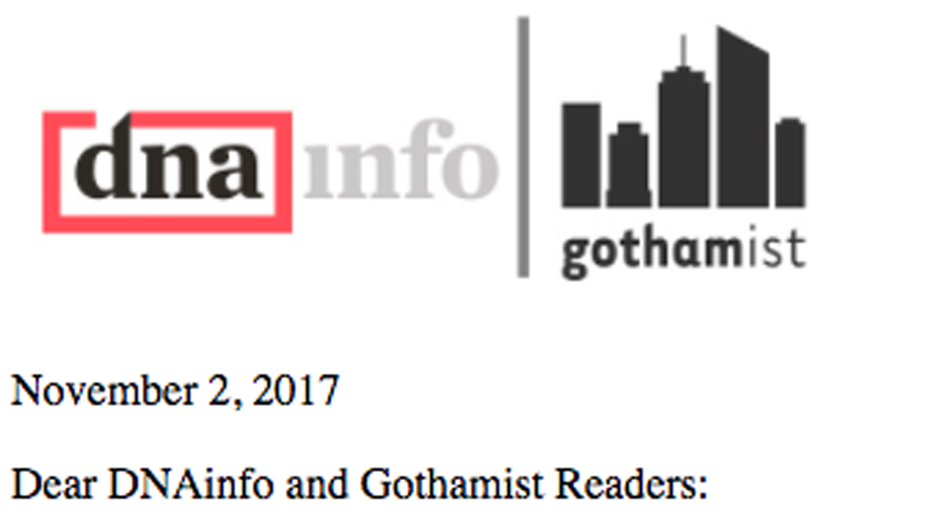 A message greeted users who tried to access the DNAinfo and Gothamist websites on Nov. 2, 2017.
