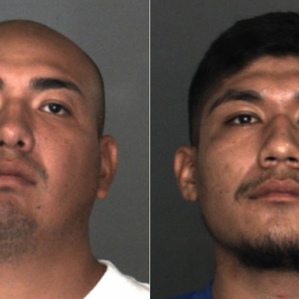 Ubler Garcia, left, and Brian Lasaro Quintanillagarcia, right, are seen in booking photos released by the San Bernardino County Sheriff's Department.