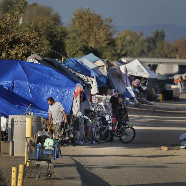 A encampment is shown along the Santa Ana River trail on the border of Fountain Valley and Santa Ana. (Credit: Allen J. Schaben / Los Angeles Times)