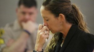 Nicole Herschel, the driver of the pickup truck involved in a deadly June 2016 crash, tears up as she pleads no contest to vehicular manslaughter in a Van Nuys courtroom. (Al Seib / Los Angeles Times)