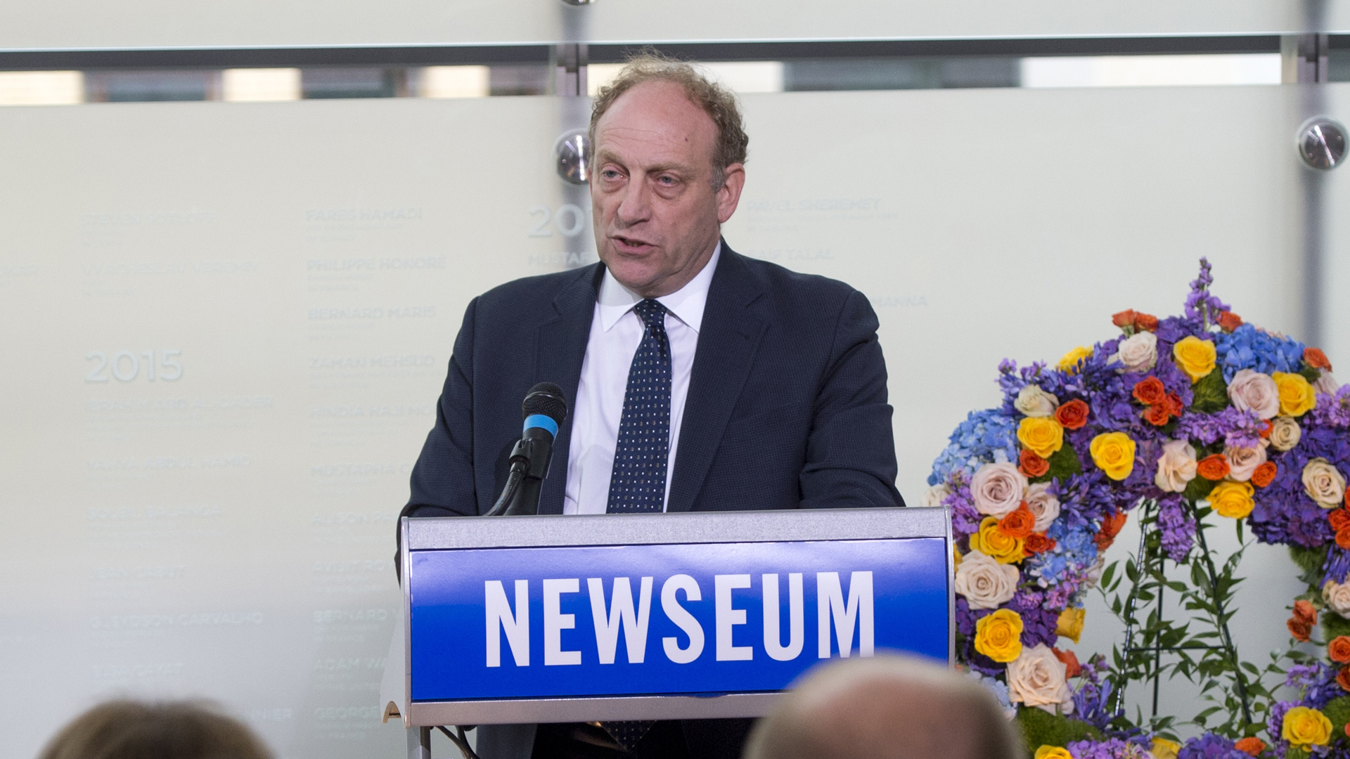 Michael Oreskes, senior vice president of news and editorial director of National Public Radio, speaks during the rededication of the Journalists Memorial at the Newseum in Washington, DC, June 5, 2017. (Credit: Saul Loeb / AFP / Getty Images)