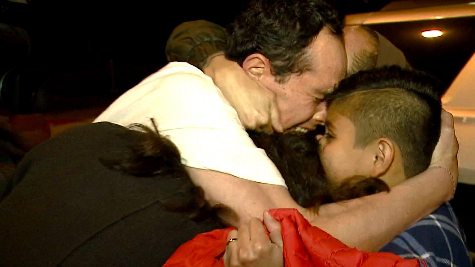 Hugo Mejia reunited with his family on Nov. 22, 2017. (Credit: KTXL)