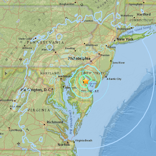 A USGS map shows the location of an earthquake that struck Delaware on Nov. 30, 2017.