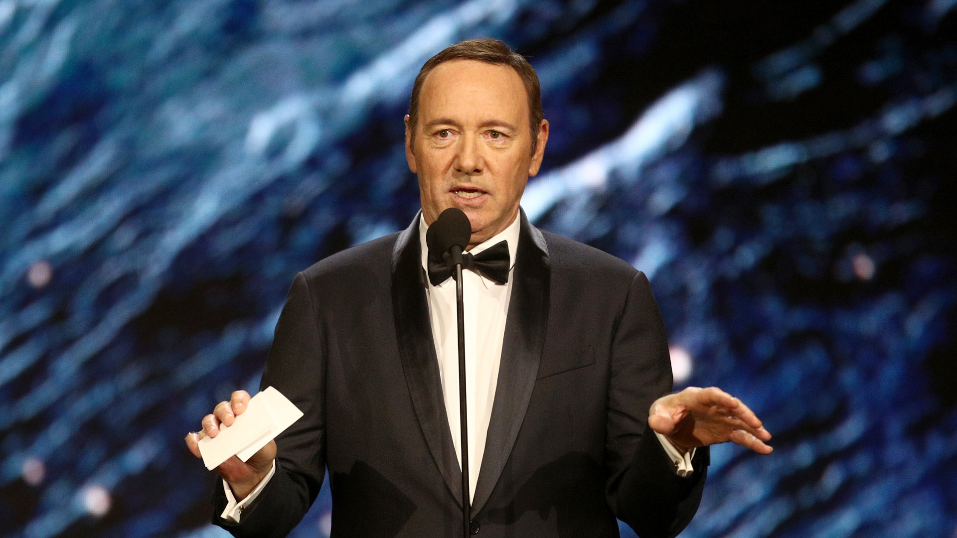 Kevin Spacey onstage to present Britannia Award for Excellence in Television at the 2017 AMD British Academy Britannia Awards at The Beverly Hilton Hotel on Oct. 27, 2017, in Beverly Hills. (Credit: Frederick M. Brown/Getty Images)