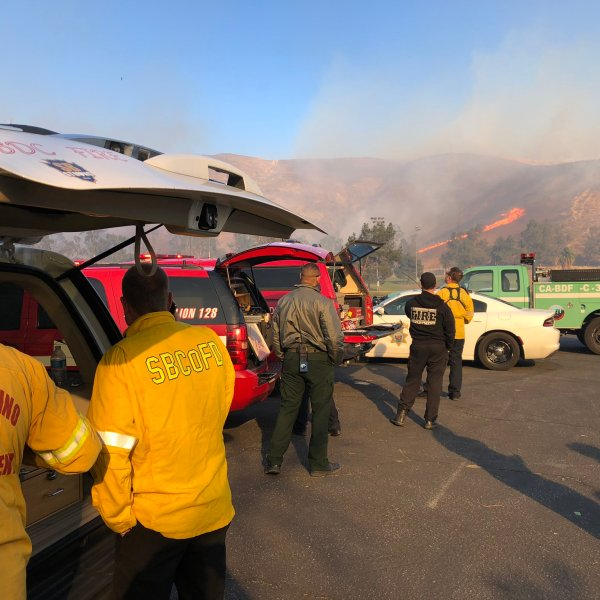 San Bernardino County Fire Department tweeted this photo of a response to the Little Mountain Fire on Dec. 5, 2017.