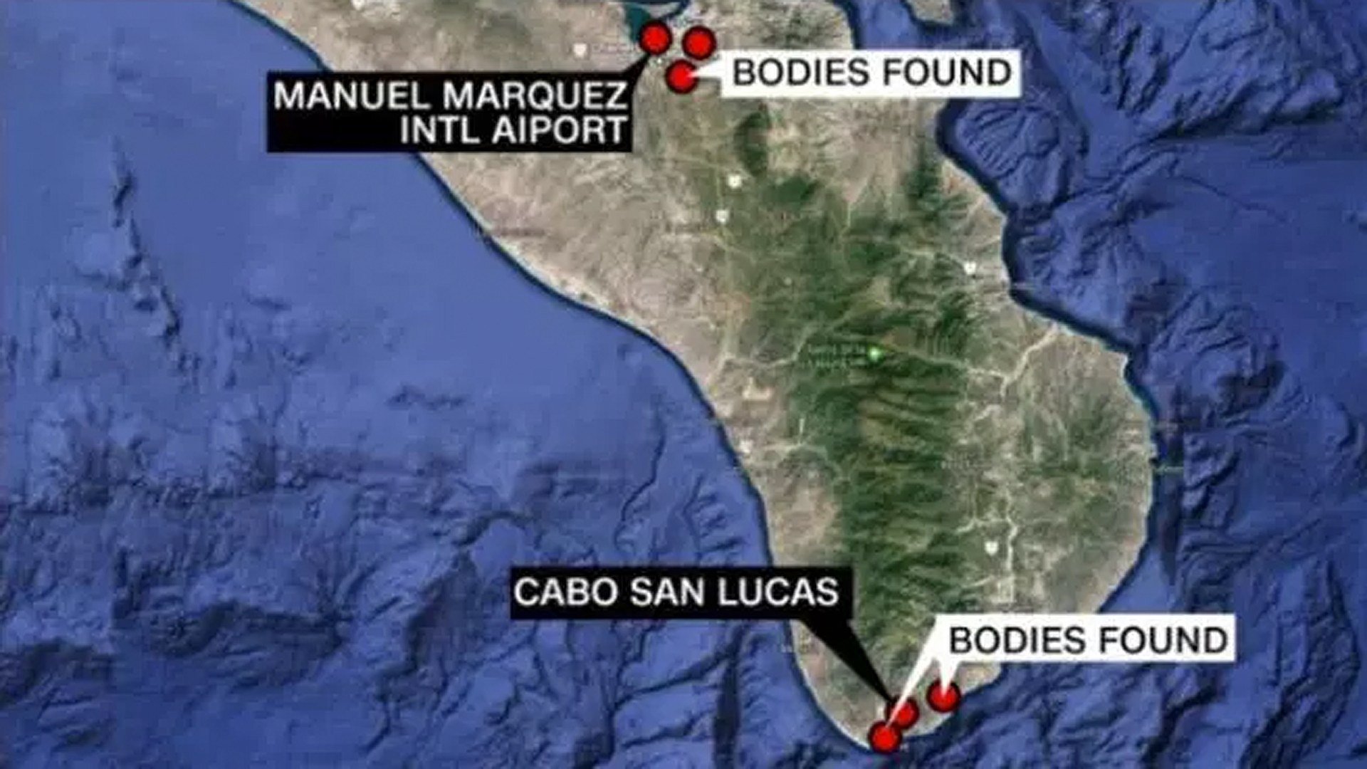 A map shows where bodies were found in Baja California Sur. (Credit: CNN)