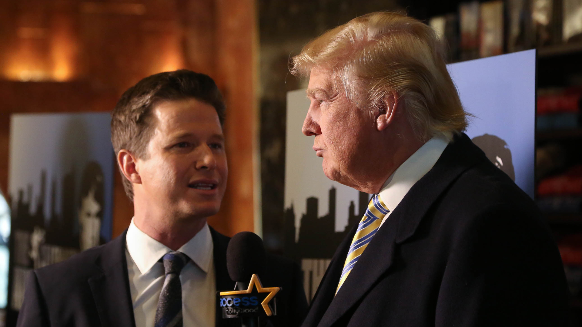 "Donald Trump is interviewed by Billy Bush of Access Hollywood at a ""Celebrity Apprentice"" Red Carpet Event at Trump Tower on Jan. 20, 2015, in New York City. (Credit: Rob Kim/Getty Images)"