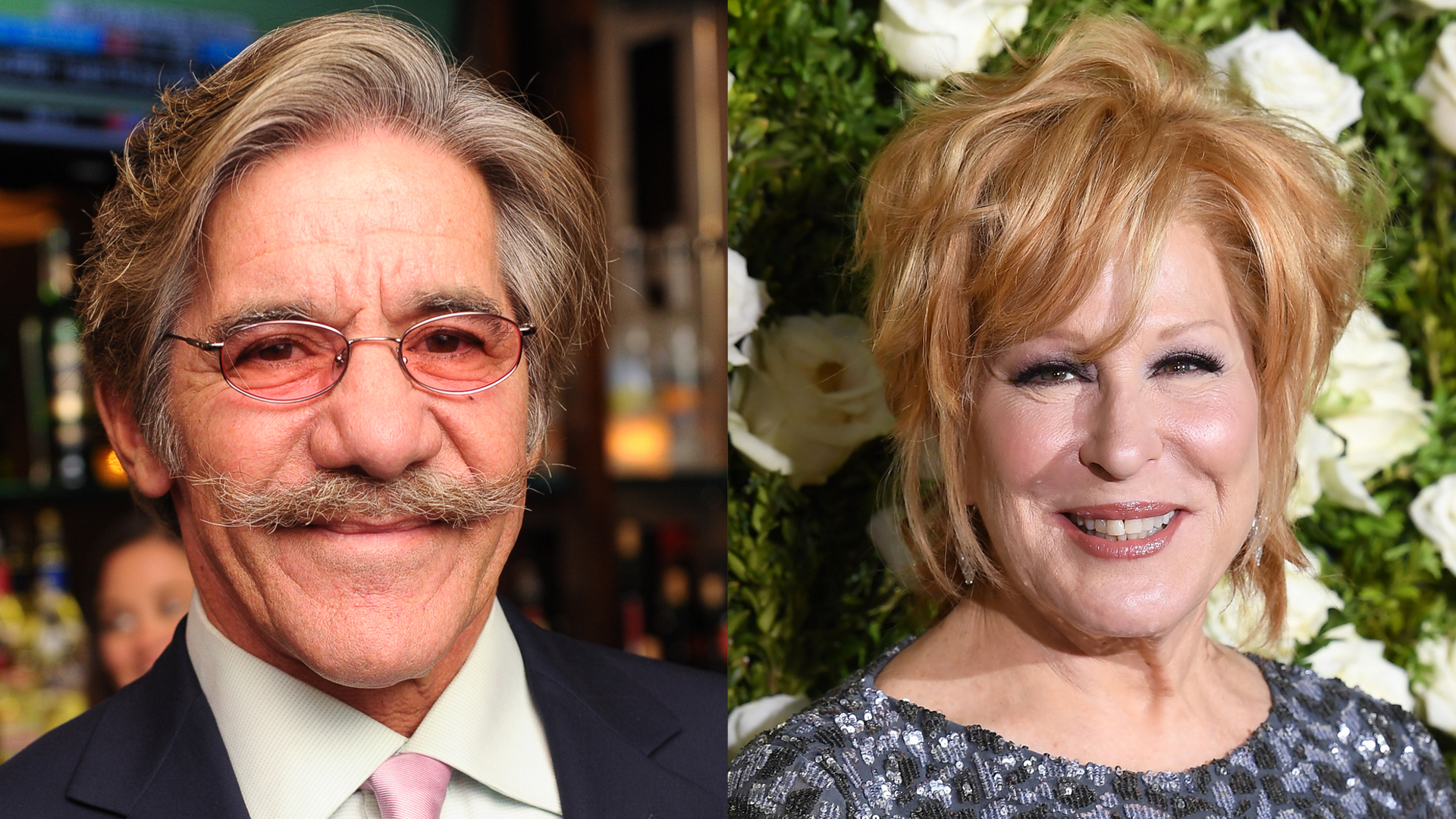 """Geraldo Rivera attends the """"Out For Blood"""" book launch event at Ivy Bar And Grill on Nov. 4, 2013, in New York City. (Credit: Rommel Demano/Getty Images) Bette Midler attends the 2017 Tony Awards at Radio City Music Hall on June 11, 2017 in New York City. (Credit: Angela Weiss /AFP/Getty Images)"""