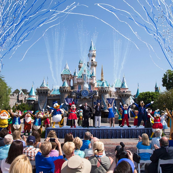 In this handout photo provided by Disney parks, Mickey Mouse and his friends celebrate the 60th anniversary of Disneyland park during a ceremony at Sleeping Beauty Castle at Fantastyland on July 17, 2015, in Anaheim. (Credit: Paul Hiffmeyer/Disneyland Resort via Getty Images)