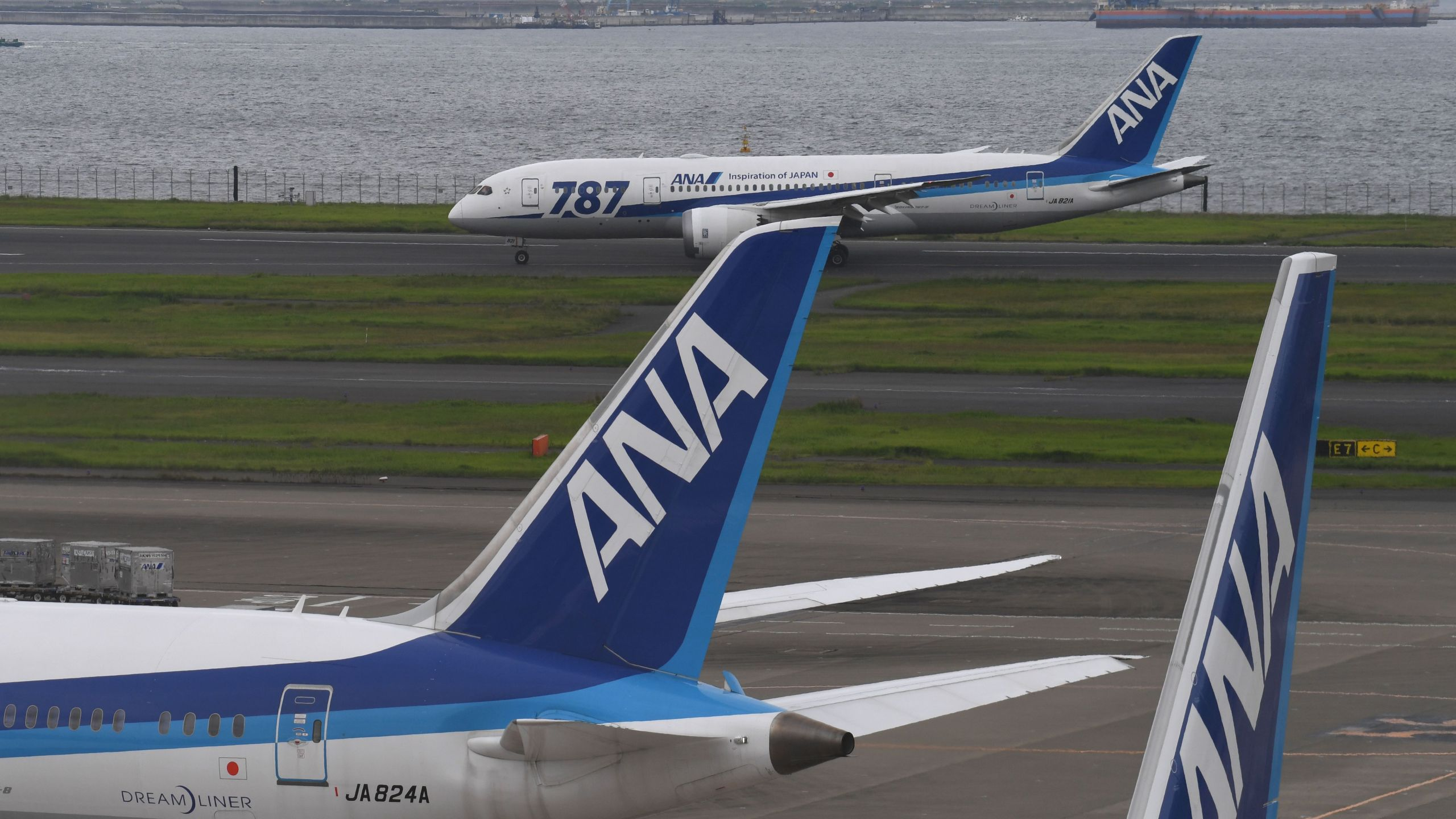 An All Nippon Airways (ANA) Boeing 787 is seen on the taxiway at Haneda international airport in Tokyo on Aug. 2, 2017. (Credit: Toshifumi Kitamura / AFP / Getty Images)