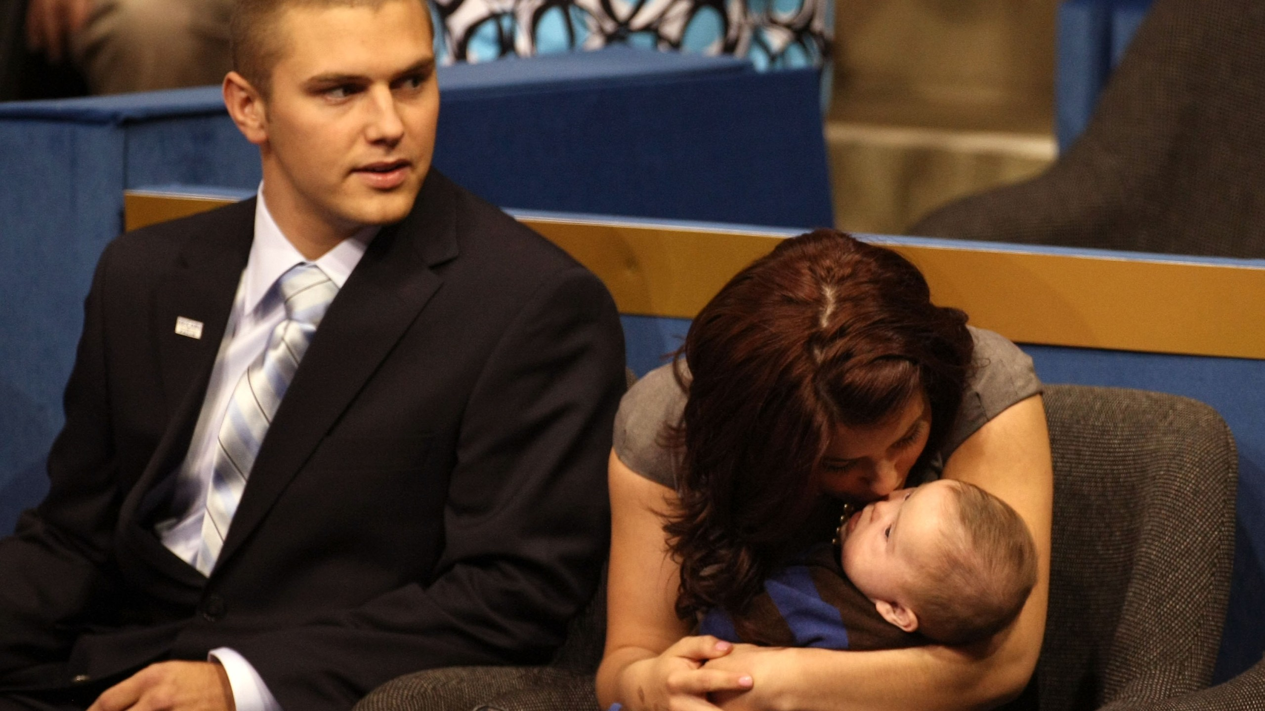 Track Palin sits with Willow Palin while holding Trig Palin on day three of the Republican National Convention on Sept. 3, 2008 in St. Paul, Minnesota. (Credit: Justin Sullivan/Getty Images)