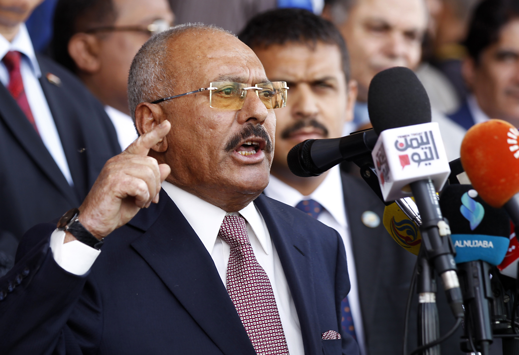 Yemen's ex-president Ali Abdullah Saleh gives a speech addressing his supporters during a rally as his General People's Congress party, marks 35 years since its founding, at Sabaeen Square in the capital Sanaa on Aug. 24, 2017. (Credit: MOHAMMED HUWAIS/AFP/Getty Images)